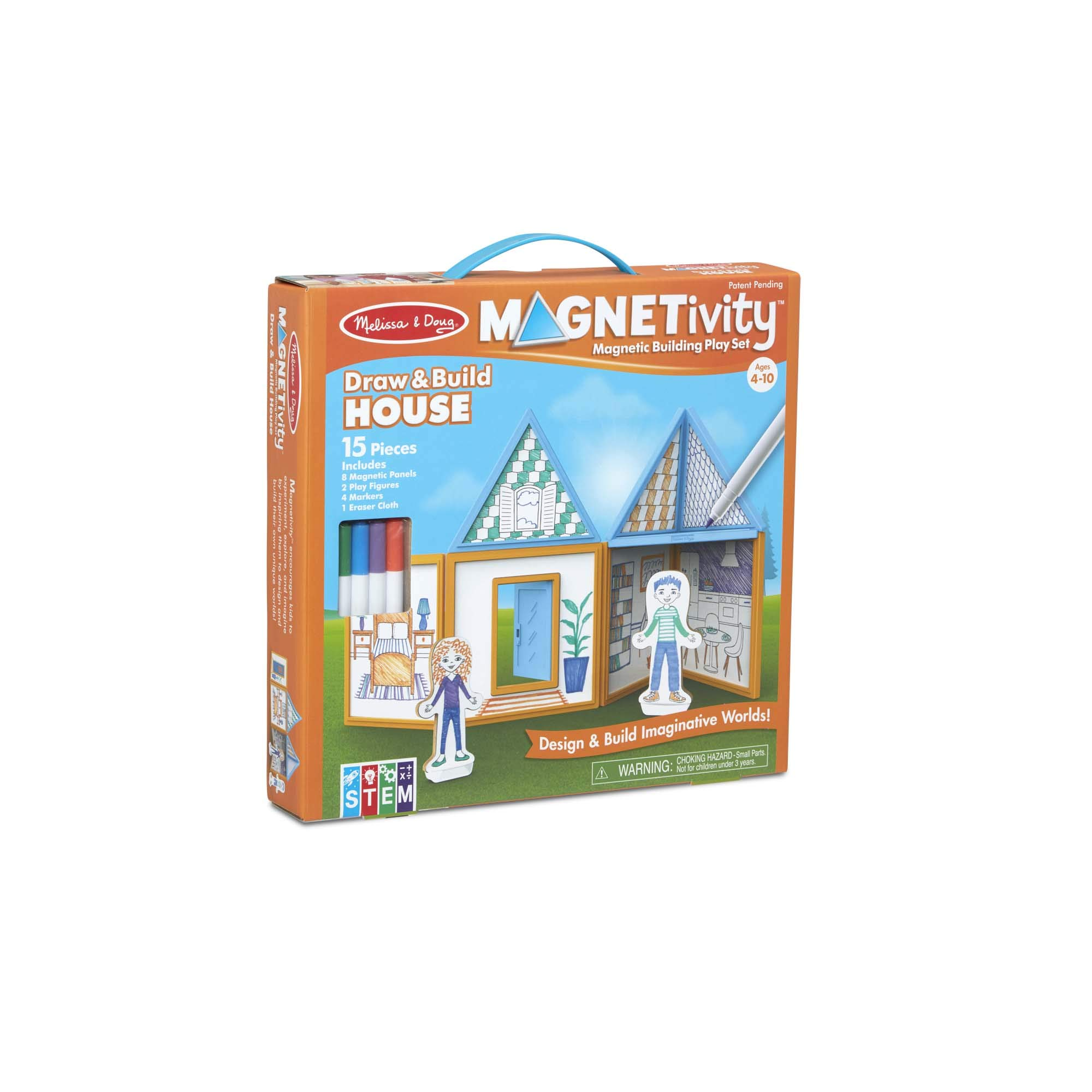 Melissa & Doug 15-Piece MAGNETIVITY Magnetic Building Play Set - Draw & Build House (8 Panels, 4 Dry-Erase Markers)