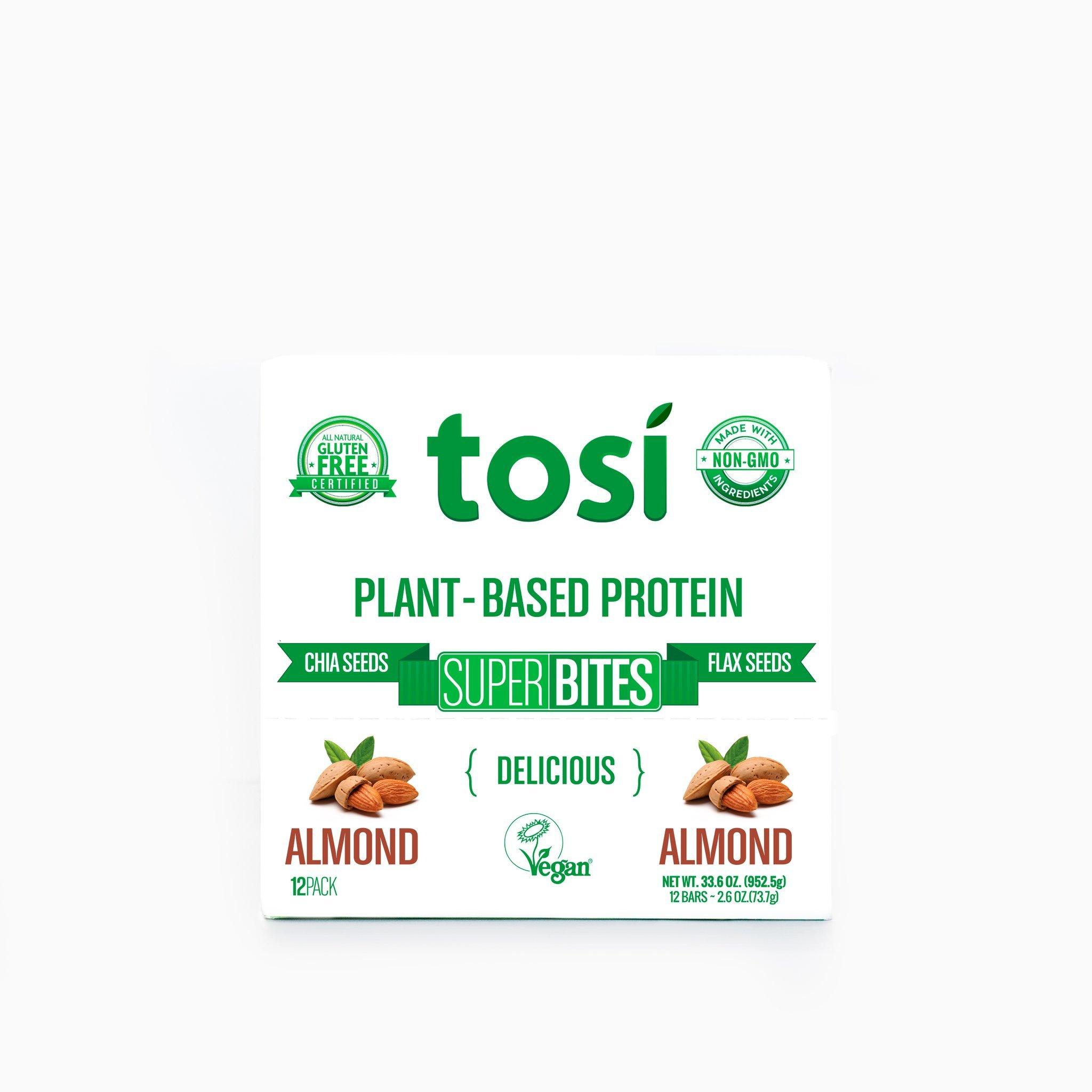 Tosi SuperBites Almond, 2.6 oz Bar, 12 Count Pack | Vegan, Plant-Based, Gluten Free, Omega 3's and Fiber