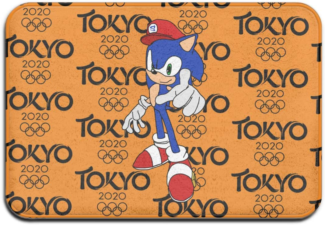 Lhdesign Sonic with Mario Hat Non-Slip Durable Carpet for Front Door