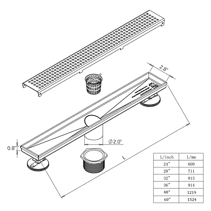 Neodrain 60 Inch Linear Shower Drain With Quadrato Pattern Grate