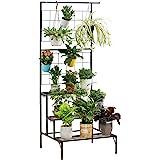 Metal 3-Tier Hanging Plant Stand Planter Shelves Flower Pot Organizer Rack Multiple Flower Pot Display Holder Shelf Indoor Ou