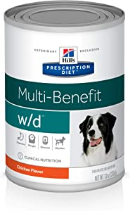 Hill's Prescription Diet w/d Multi-Benefit Digestive/Weight/Glucose/Urinary Management with Chicken Canned Dog Food, 13 oz, 12-pack wet food