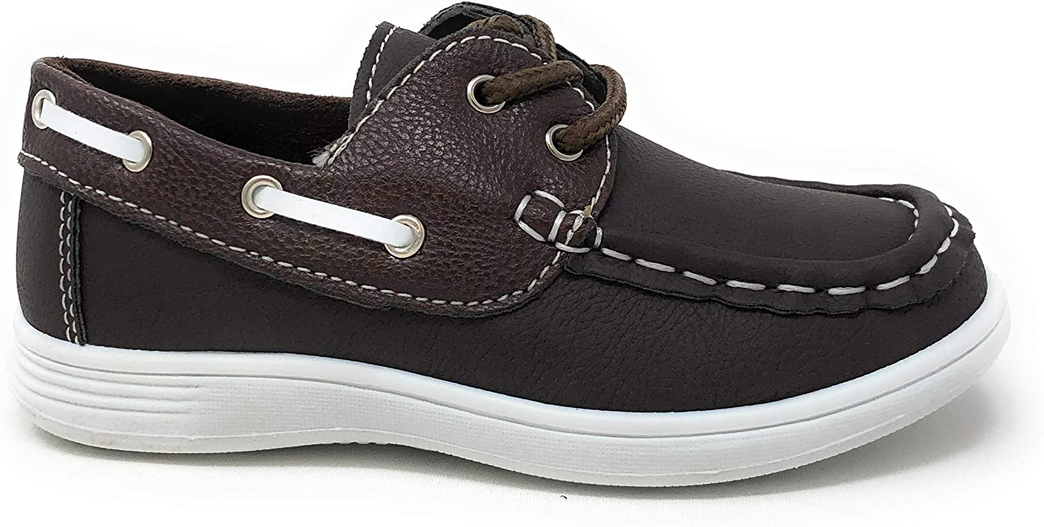 coXist Boys Suede PU Boat Shoe in Brown Size 8 Toddler Big Kid//Little Kid//Toddler