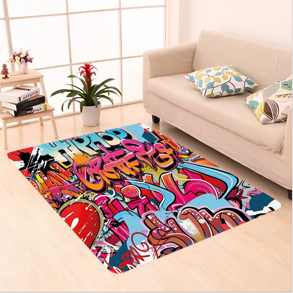 Nalahome Custom carpet raphic Decor Hip Hop Street Culture Harlem New York Wall Graffiti Spray Artwork Image Multicolor area rugs for Living Dining Room Bedroom Hallway Office Carpet (4' X 6')