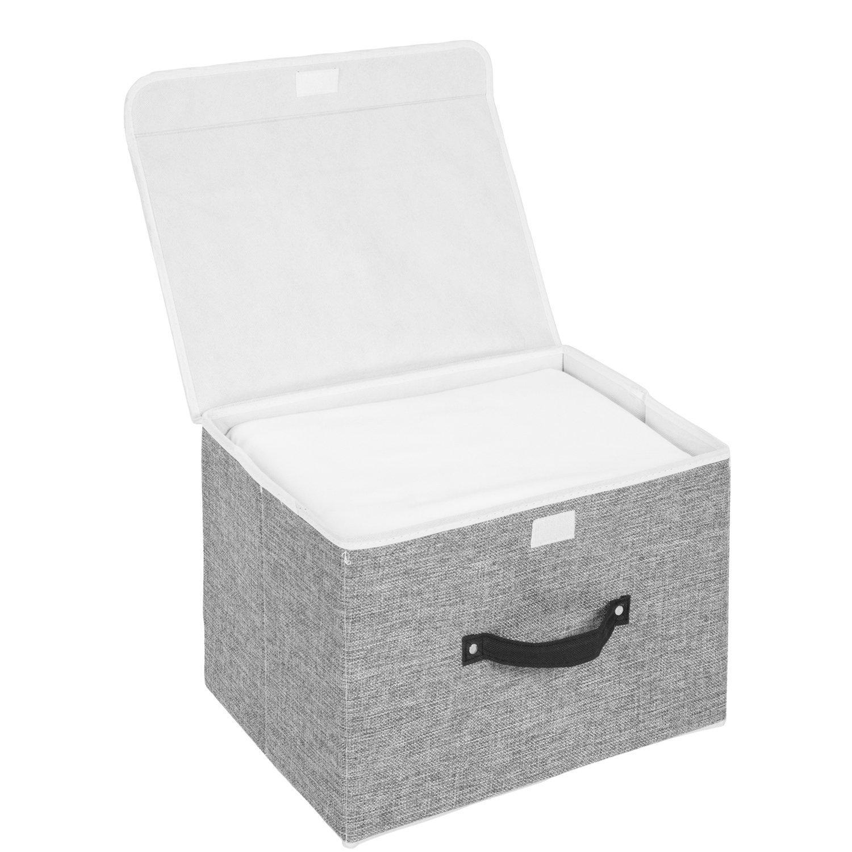 MEE\'LIFE Cajas de Almacenamiento Juego de 2, Cestas de Almacenamiento Plegables de Tela de algodón Cestas con Tapas y Asas Caja de Almacenamiento para estantes Contenedor de Ropa (Gris Claro)
