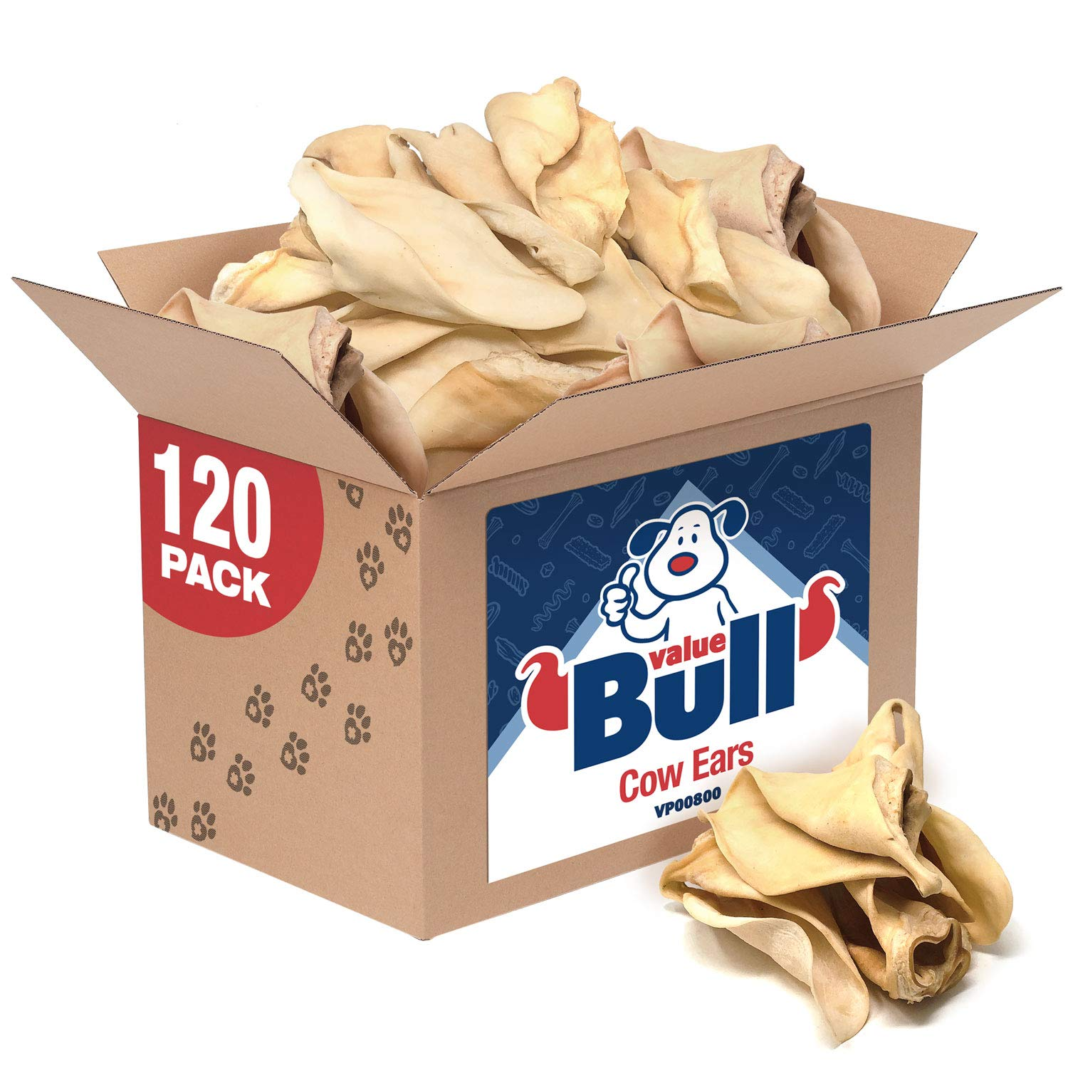 ValueBull Cow Ears, Jumbo Premium, 120 Count, Natural Dog Treats - Angus Beef, USDA/FDA-Approved by ValueBull