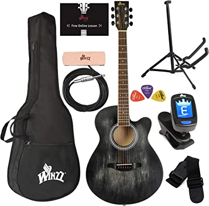 Red Strap Tuner Picks Pickup WINZZ 40 Inches Cutaway Acoustic Guitar Beginner Starter Bundle with Padded Bag Stand