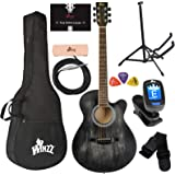 WINZZ 40 Inches Cutaway Acoustic Guitar Beginner Starter Bundle with Online Lessons, Padded Bag, Stand, Tuner, Pickup, Strap,