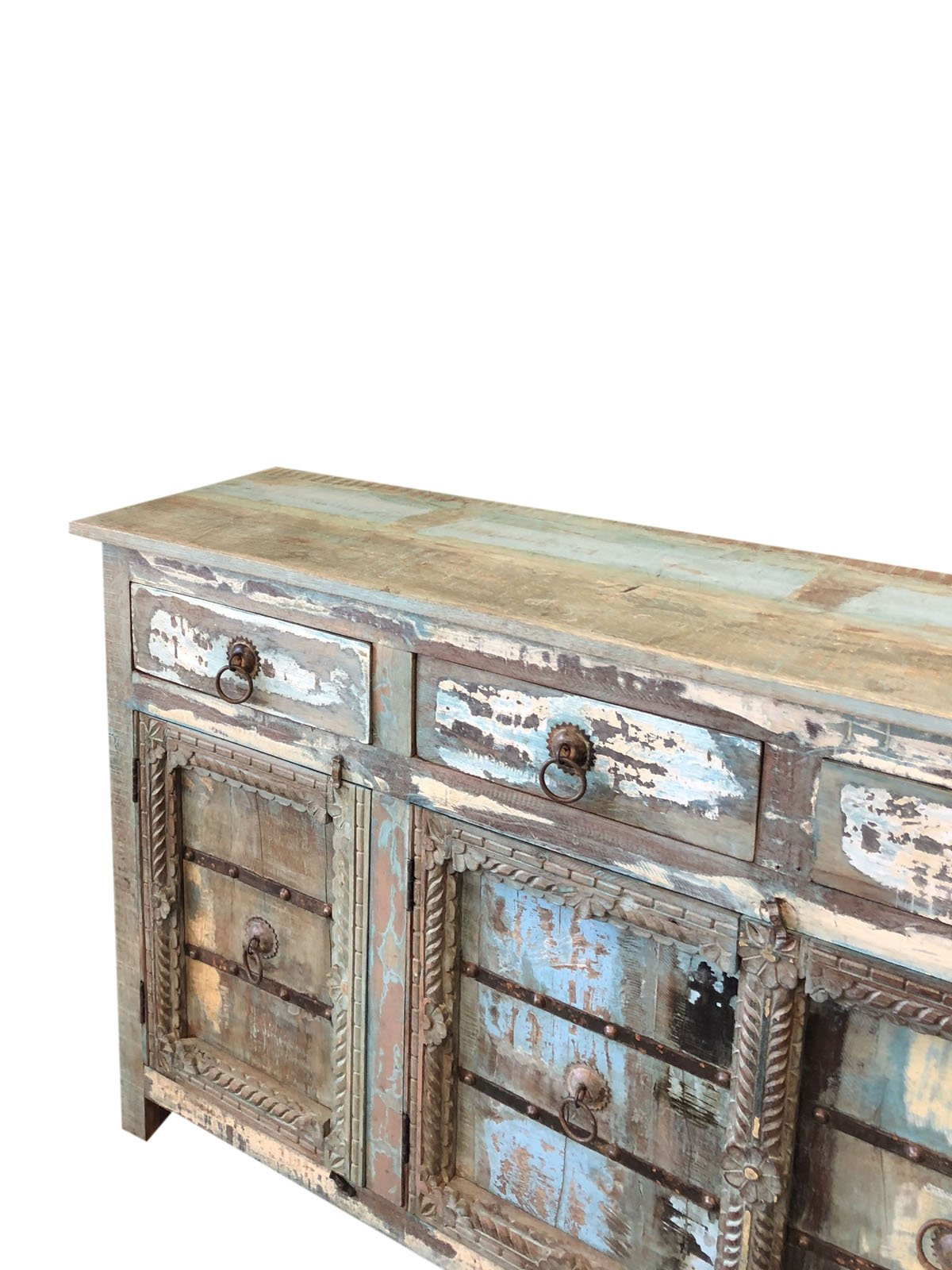 Mogul Interior Antique Sideboard Solid Wood Console Rustic Distressed Blue Chest Buffet Cabinet Furniture Farmhouse Chic by Mogul Interior (Image #2)