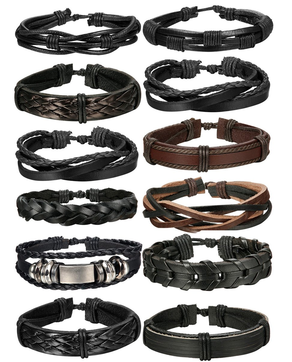 FIBO STEEL 10-12 Pcs Braided Leather Bracelets for Men Women Cuff Bracelet,Adjustable Bset036-12