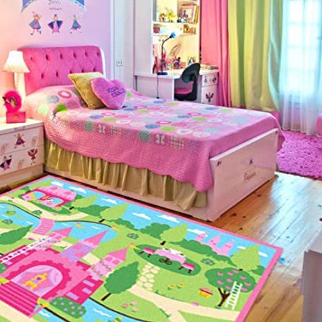 LELVA Cartoon Castle Girls Bedroom Rugs,Delicate Little Flowers Bedroom  Floor Rugs,Cute Colorful