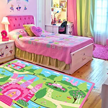 girls bedroom rug. LELVA Cartoon Castle Girls Bedroom Rugs Delicate Little Flowers  Floor Cute Colorful Amazon com