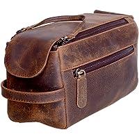 KomalC Genuine Buffalo Leather Unisex Toiletry Bag Travel Dopp Kit Distressed Tan