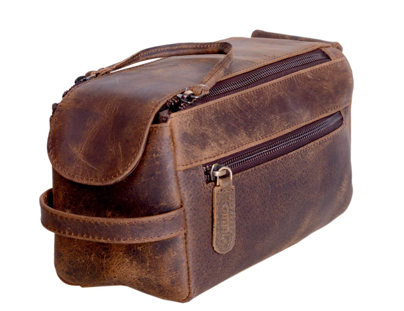 KOMALC Genuine Buffalo Leather Unisex Toiletry Bag Travel Dopp Kit by KomalC