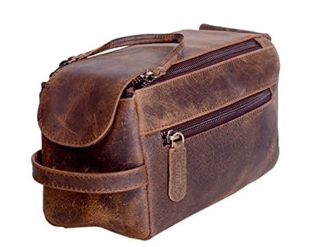 69d2713eea12 KOMALC Genuine Buffalo Leather Unisex Toiletry Bag Travel Dopp Kit
