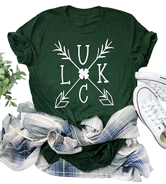 cc82c59cc Amazon.com: KIDDAD Women St Patricks Day Luck T Shirts Womens Vintage Short  Sleeve Tshirt Arrow Graphic Tees Tops: Clothing