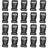 20 Pack 1 Inch Side Release Plastic Buckles ( Black )