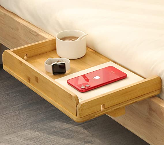 Amada Bedside Shelf for Bed with Cable Management & Cup Holder