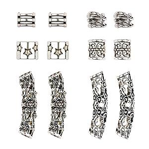 Yebeauty Dreadlocks Accessories, Hair Jewelry Metal Dreadlocks Beads DIY Hair Braid Rings Dreadlock Jewelry for Hair Decor, Pack of 12