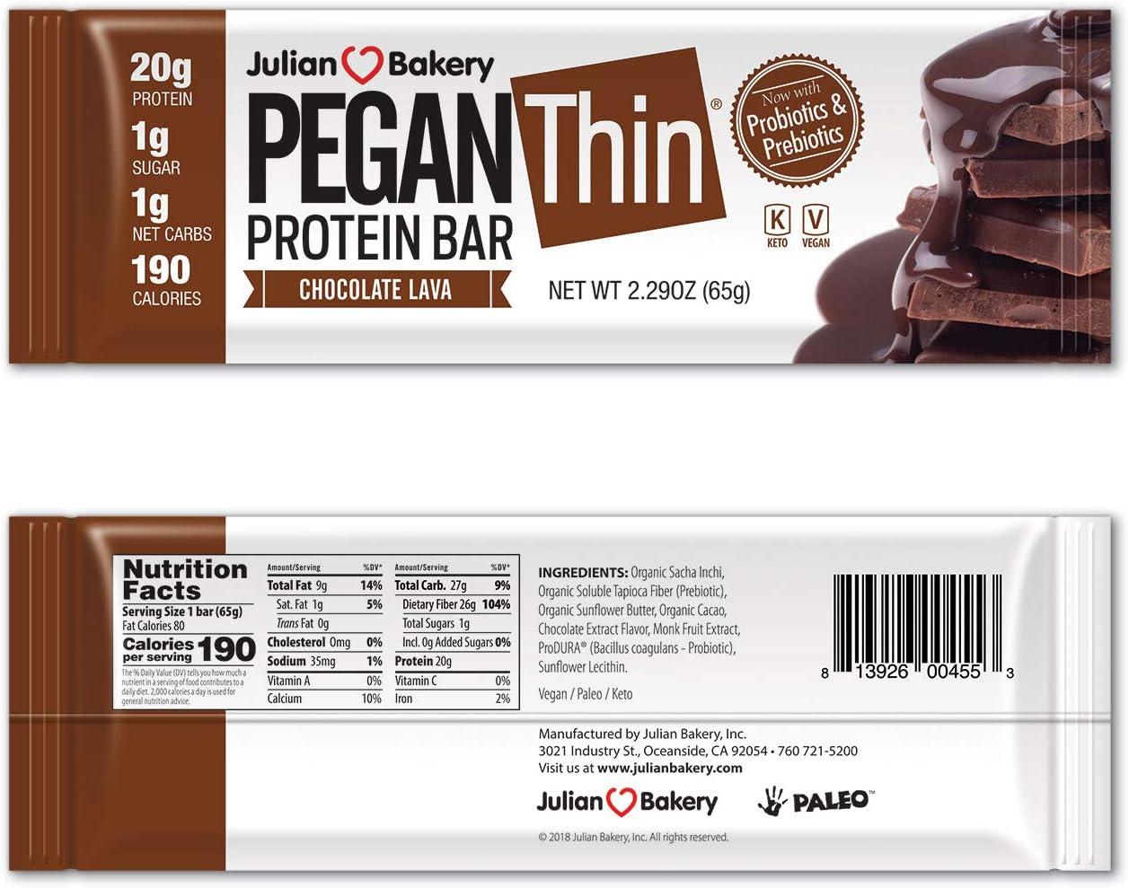 Pegan® Protein Bar (Chocolate Lava) 12 Bars (20g Organic Plant Protein) (1 Net Carb 1g Sugar) VeganⓋ