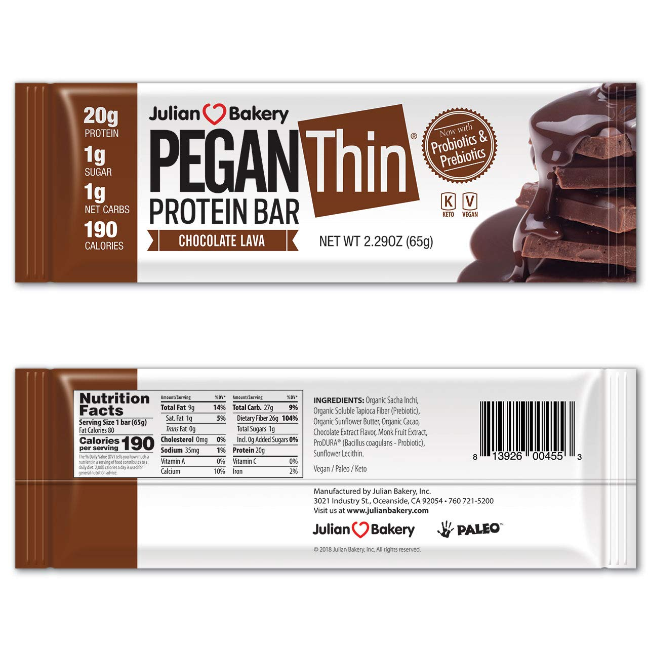 Pegan® Protein Bar (Chocolate Lava) 12 Bars (20g Organic Plant Protein) (1 Net Carb 1g Sugar) VeganⓋ by Julian Bakery