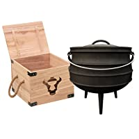BBQ-Toro Potjie #3 in Holzkiste Holzkohlegrill Schwarz XL Gusseisen Charcoal Grill Camping Garten Picknick ✔ Deckel ✔ rund ✔ tragbar ✔ Grillen mit Holzkohle