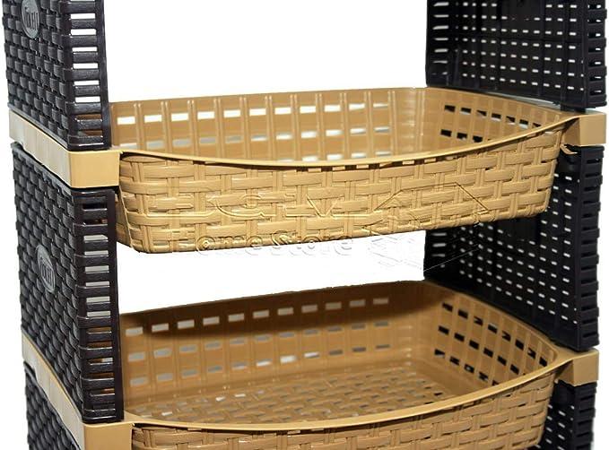 Estante de plástico con cestas de ratán de 4 niveles para cocina ...