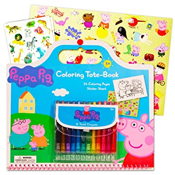 peppa pig giant coloring book tote set with peppa pig stickers and twist crayons includes