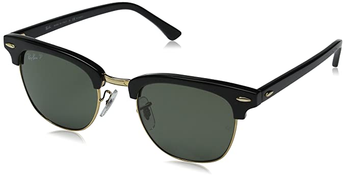 4064b3f13b Ray-Ban Men s Polarized Clubmaster RB3016-901 58-49 Black Round Sunglasses