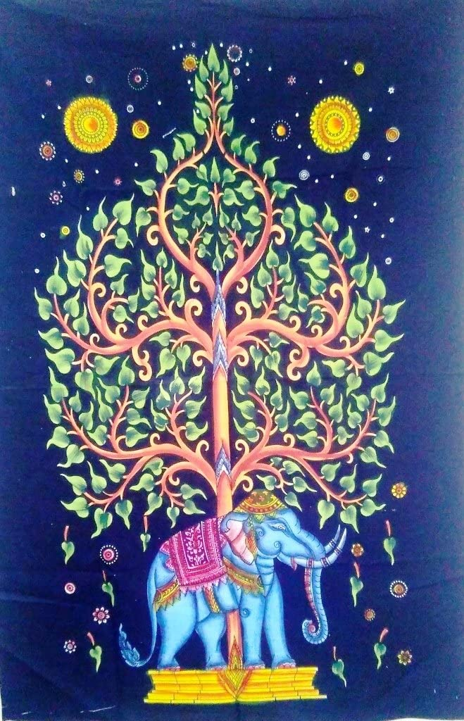 """Traditional Jaipur Hand Painted Tree of Life Tapestry, Elephant Poster, Hippie Wall Hanging, Indian Dorm Room Decor, Boho Good Luck Wall Art, Size: 30""""X45"""""""