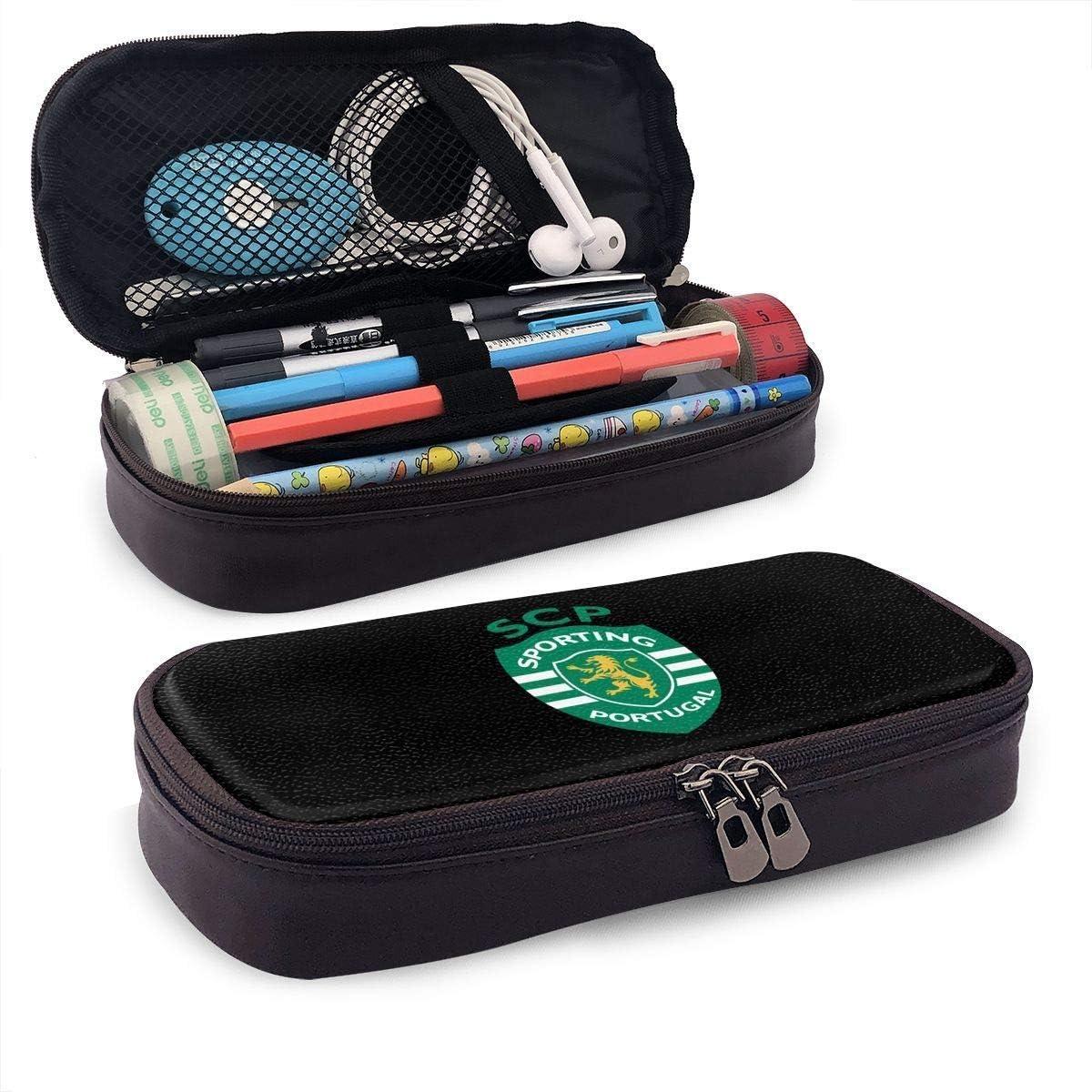 /Étui /à crayons en cuir pochette stylo titulaire organisateur sac /à fermeture /éclair pour les adolescents filles gar/çon enfant Kid SCP Sporting Lisbonne