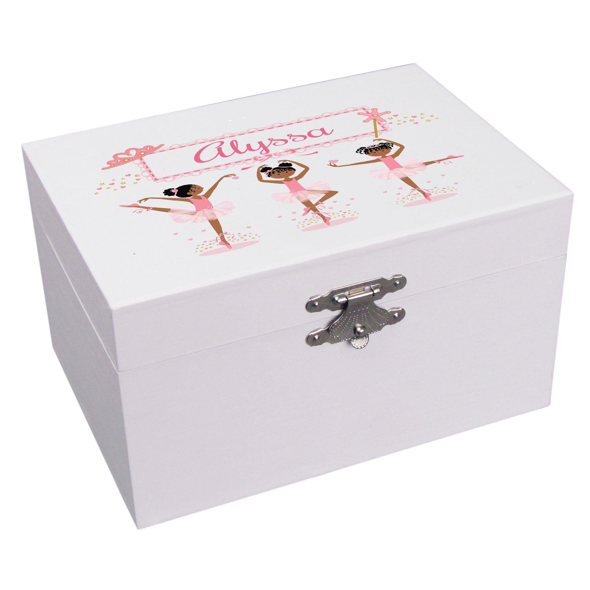 Personalized Ballerina African American Musical Ballerina Jewelry Box
