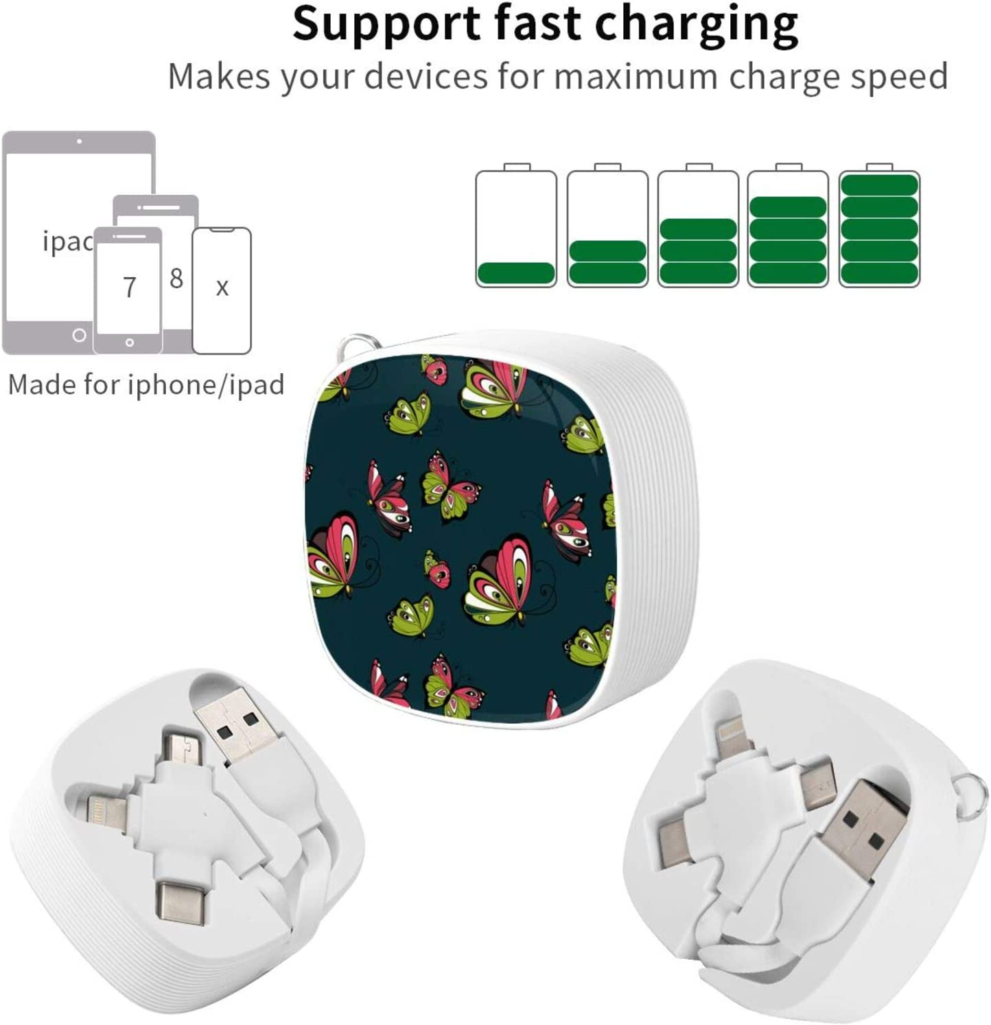 Butterfly Artthe Square Three-in-One USB Cable is A Universal Interface Charging Cable Suitable for Various Mobile Phones and Tablets