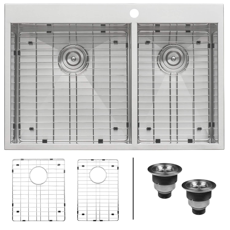 Ruvati 33 x 22 Inch Drop-in 60/40 Double Bowl 16 Gauge Zero-Radius Topmount Stainless Steel Kitchen Sink - RVH8050 by Ruvati