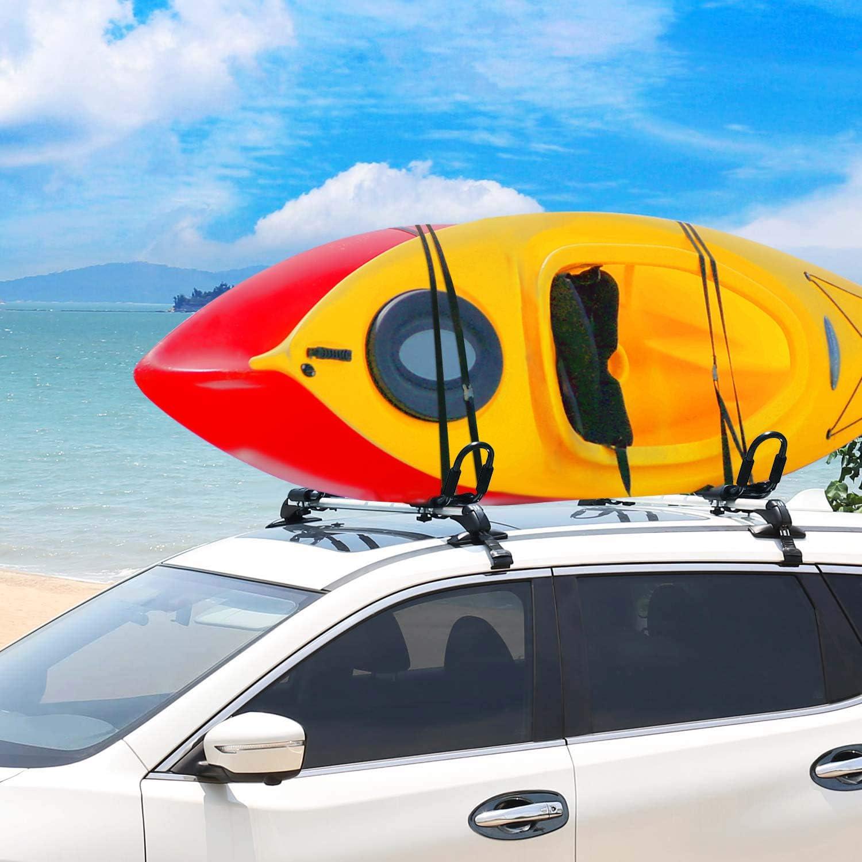 Universal Rooftop Rack Carrier for Kayak Canoe Paddle Boat Surf Ski One Pair FIVKLEMNZ J-Bar Kayak Roof Rack Mounted on Car SUV
