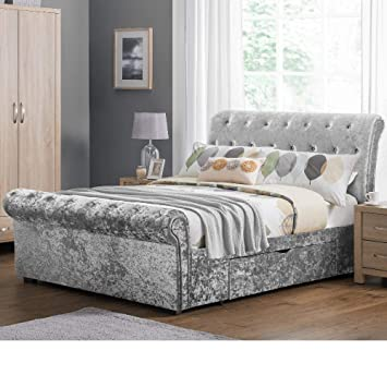 b2cd64e127b0 Crushed Velvet Storage Sleigh Bed, Happy Beds Verona Silver Fabric  Chesterfield 2 Drawer Storage Bed