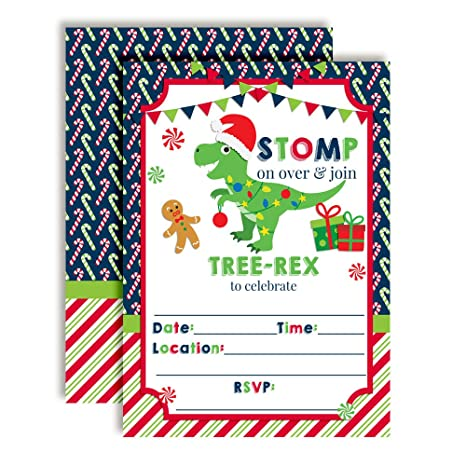 Image Unavailable Not Available For Color Tree Rex T Dinosaur Themed Holiday Christmas Birthday Party Invitations