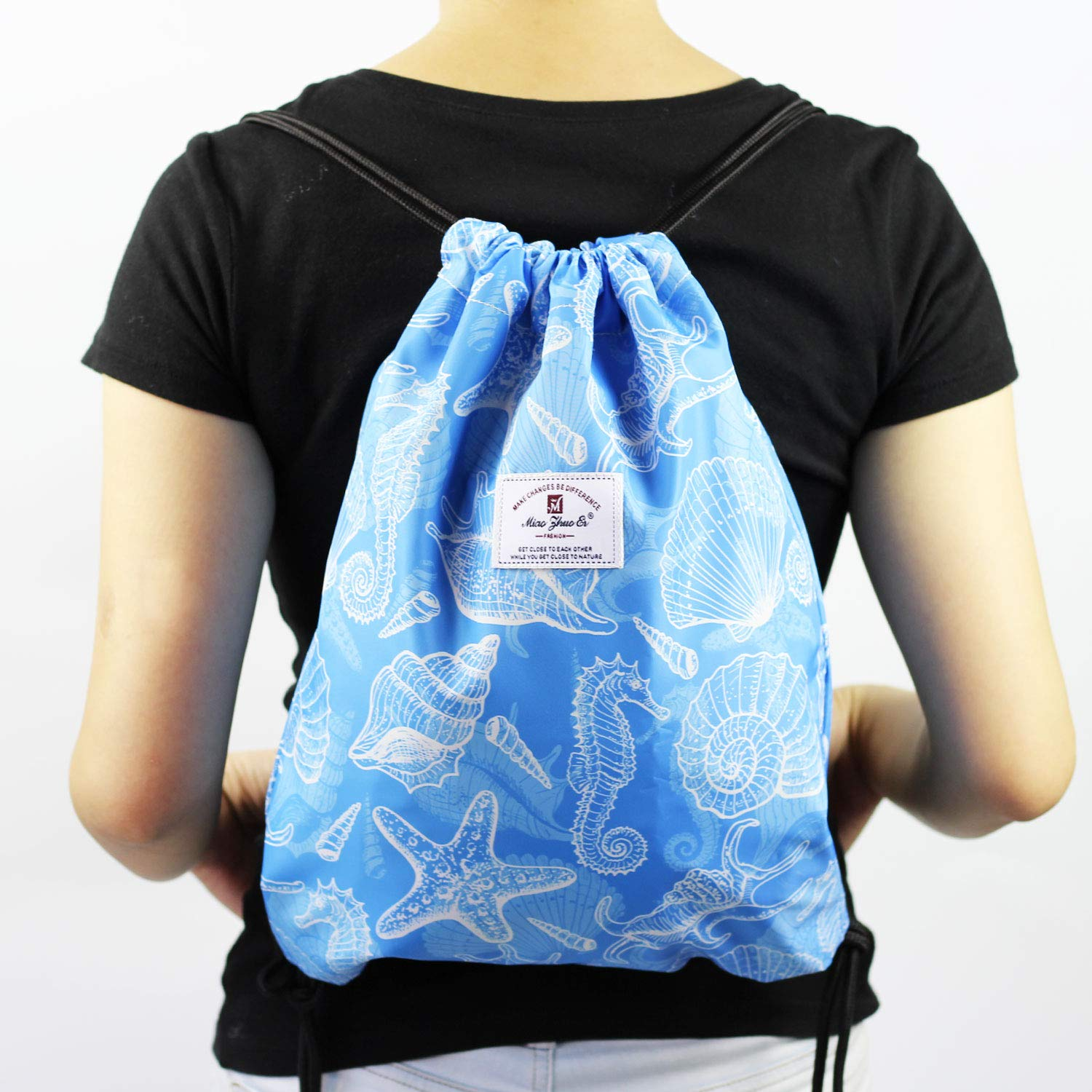 Drawstring Bag Dry Wet Floral Backpack Waterproof Lightweight Tote Pool Beach Travel Gym Bags