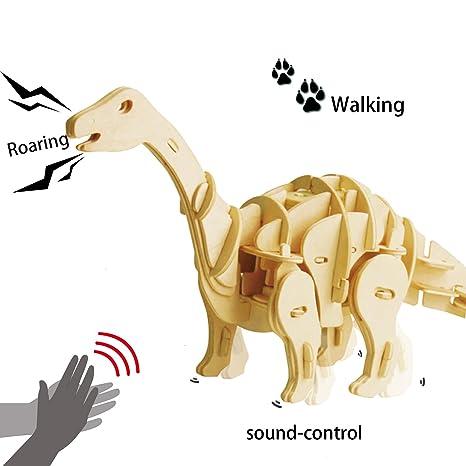 ROBOTIME Dinosaurier Spielzeug für Kinder 6, 7, 8 Jahre und Älter, Apatosaurus Bausatz Holz 3D Puzzle Steckpuzzle Geschenk fü