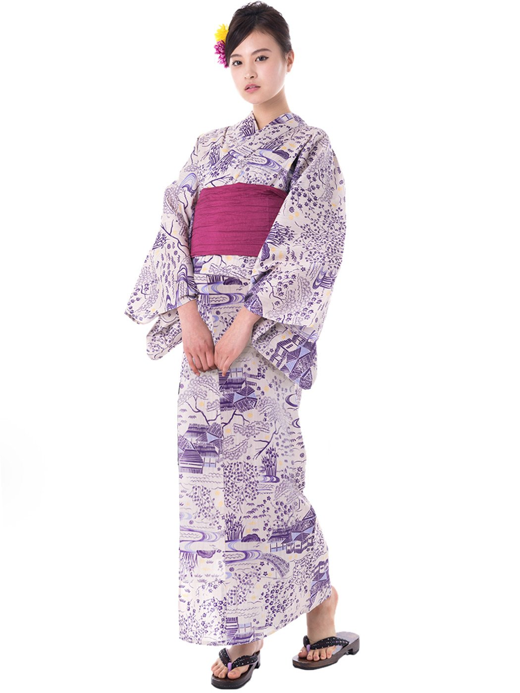 KYOETSU Women's Elegance Yukata 2 Piece Set (Yukata/Obi) (Small (Japan Size TL), FM-4(Obi Wine Red))