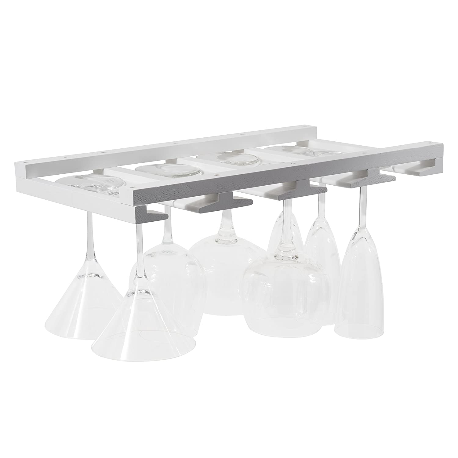 Rustic State Wine Glass Rack Makes Dull Kitchens or Bar Looks Great Perfectly Fits 6-12 Glasses Under Cabinet Easy to Install with Included Screws Great Hanging Bar Glass Rack (White)