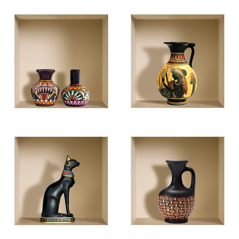Conjunto de 4 Jarrones de colores DIY Pegatinas Etiquetas para Pared Desmontables de Vinilo 3D Arte M/ágico de Nisha