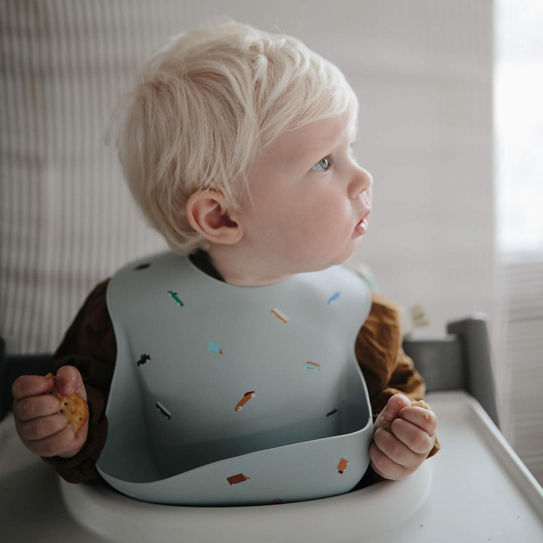 Mushie Silicone Baby Bib Safari Tan Adjustable Fit Waterproof Bibs ...