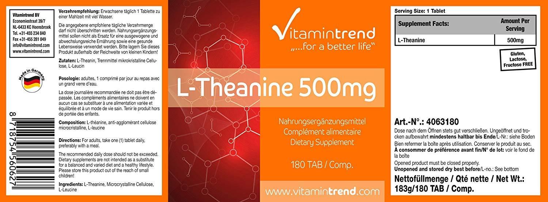 L-Teanina 500mg - 180 Comprimidos - ¡Bote para 6 MESES! - Para un sueño reparador: Amazon.es: Salud y cuidado personal