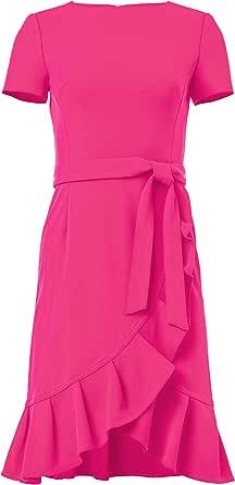 CALVIN KLEIN Womens Short Sleeve Dress with Ruffle Hem and Self Belt Short-Sleeve Dress - Purple - 10