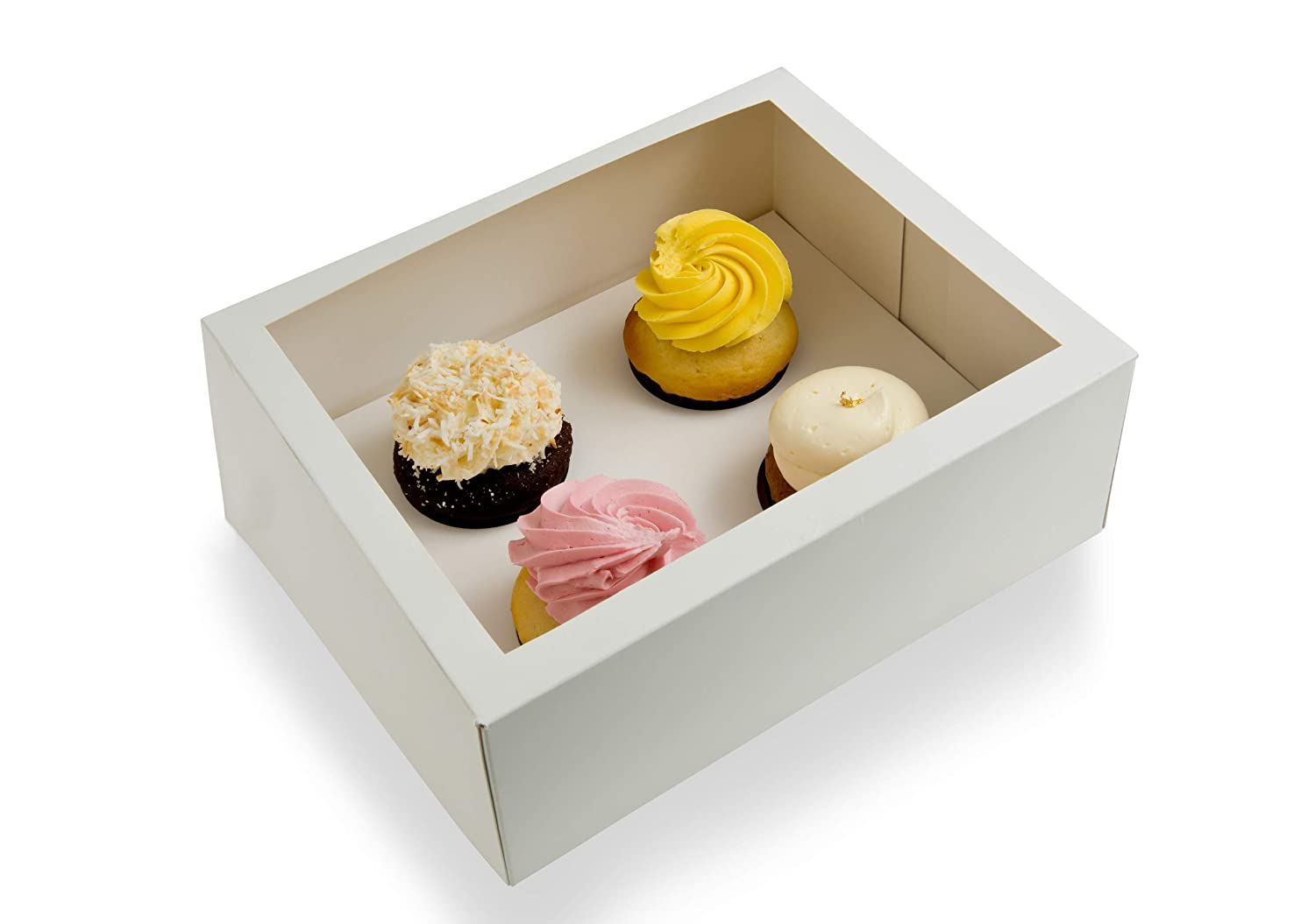 Window Cupcake Boxes (Holds 4) with Inserts Included - Sets of 25 - Just Pops Open - Ships Flat