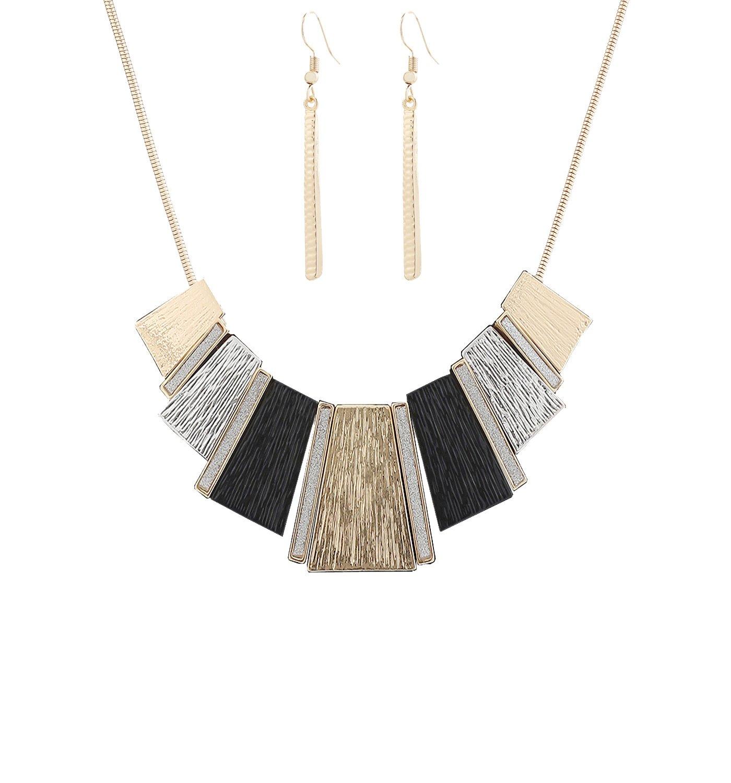 HSWE Statement Bib Collar Necklace for Women Enamel Tricolor Pendant Collar Necklace for Girls (gold)