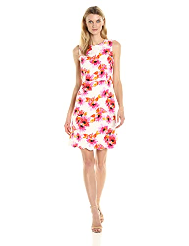 Kasper Women's Printed Jacquard Dress W/ Scalloped Hem