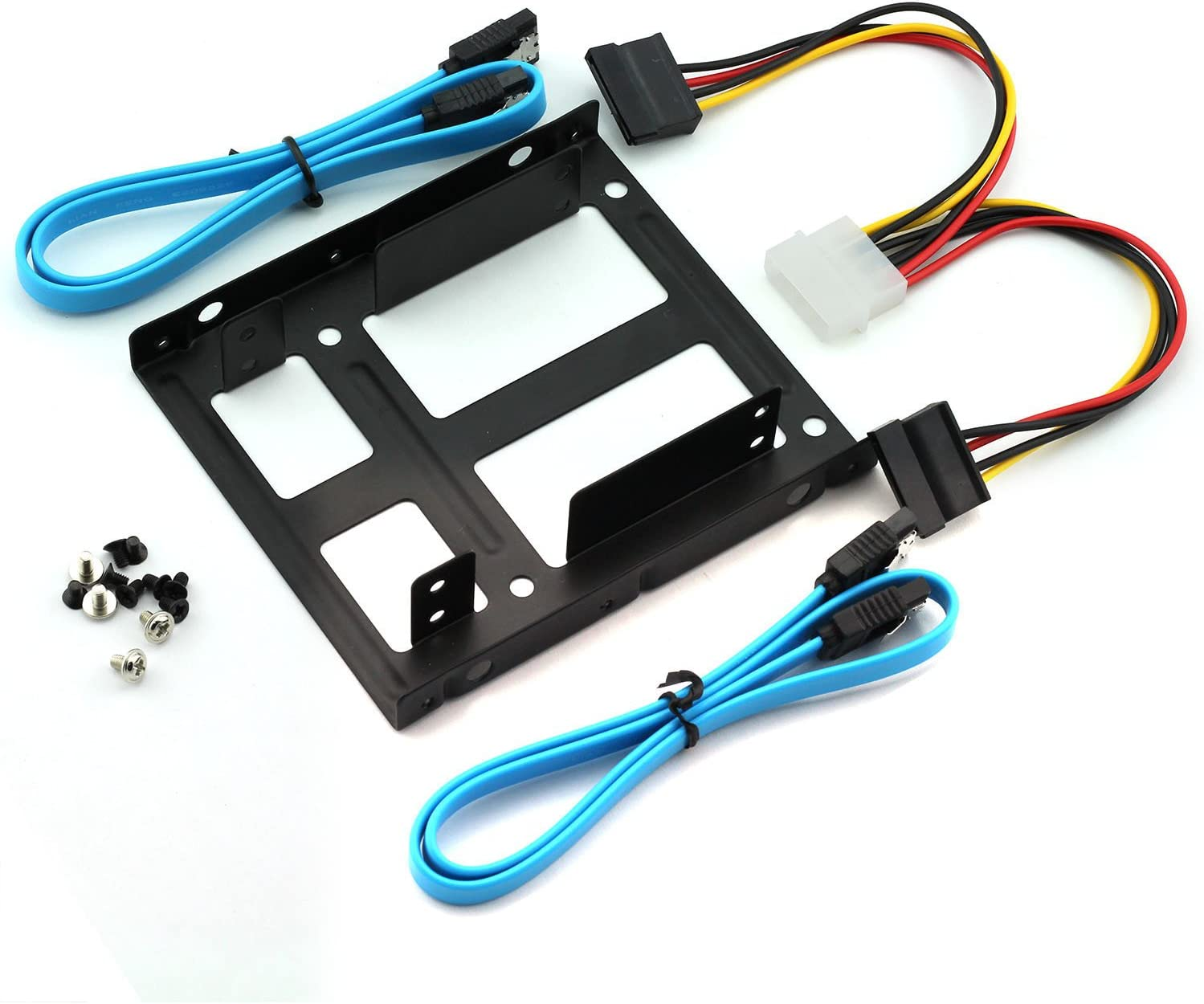 "Magic&shell 2-Bay 2.5"" to 3.5"" Drive Bay Adapter Kit Converter Tray HDD SSD Mounting Bracket + IDE 4P Male to 2 SATA 15 Pin Female Power Extension Cable Splitter + 2 x SATA 3.0 Cable"