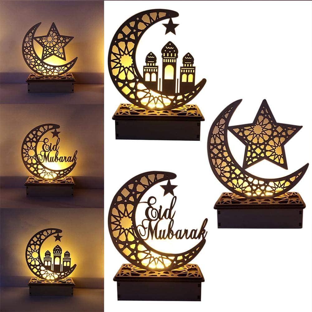Muslim Islam Eid Festival Dekoratives Licht f/ür Zuhause B/üro und Palast 5,91 /× 2,36 /× 7,48 Zoll Mubarak Ramadan LED Holz DIY Lampe